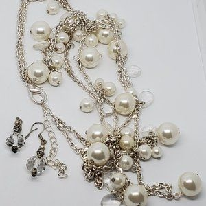 Avenue Silver Tone Faux Pearl Necklace and Earring